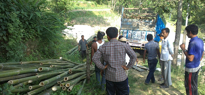 Demonstration on building a Bamboo house in Gundu